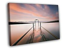 Pier Water Lake Mist Sunset Beautiful Nature FRAMED CANVAS PRINT Toile