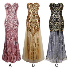 Sexy Women Lady Sequins Mermaid Strapless Evening Dress Cocktail Prom Ball Gown