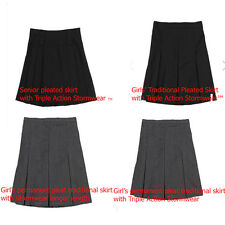 GIRLS SCHOOL SKIRTS EX M*S PLEATED GREY,NAVY,BLACK AGES YOUNG TO SENIORS
