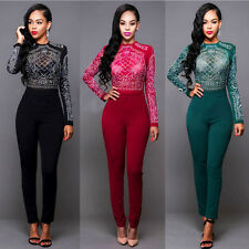 Sexy Womens Winter Long Sleeve Drilling Bodycon Jumpsuit Bodysuit Pants Tops Set