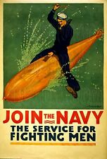 Join The Navy The Service For Fighting Men WWI Recruiting Torpedo Photo -3g09568