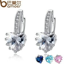 PLATINUM PLATED COLOR HEART ZIRCON STUD EARRING EARRINGS FASHION CRYSTAL YIE095