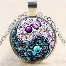 Ying-Yang-Butterfly-Cabochon-Glass-Tibet-Silver-Chain-Pendant-Necklace