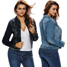 Dark Stone Wash Women Denim Jacket Dress Sexy Autumn Notched Full Sleeve Button