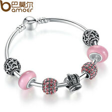 925 SILVER CHARM BRACELET BANGLE WITH OPEN YOUR HEART & CROWN PINK MURANO GLASS