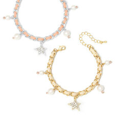 Star Charm and Pearl Chain Bracelet Made in Korea