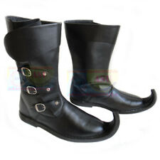 Medieval Leather Boots Black Re-enactment Mens Shoe Larp Role Play Costume Boot