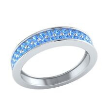0.55 ct Natural Round Blue Topaz Solid Gold Half Eternity Wedding Band Ring