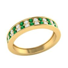 0.55 ct Real Emerald & Certified Diamond Solid Gold Half Eternity Wedding Band