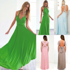 Women's Maxi Dress Long Wedding Gown Convertible Multi Way Wear Wrap Bridesmaid
