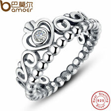 925 STERLING SILVER PRINCESS QUEEN RING CLEAR CZ AUTHENTIC JEWELRY WOMEN PA7110