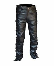 """ARD® Men's Thick Cow Leather Side Laces Jeans Model Pant New Sizes 28"""" to 46"""""""