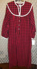 Lanz of Salzburg LONG Cotton Flannel Nightgown M Red Black Plaid w Lace New $68