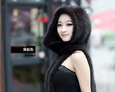 New Genuine Mink Fur Scarf Cape Stole Shawl Wraps Hat Knitted Women Coat NY7684