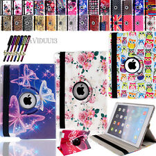 Leather 360°Rotating Stand Case Cover for Apple iPad tablet . Free stylus. UK
