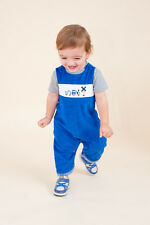 """AURORA ROYAL BABY BOYS BLUE CORDUROY """"HAPPY TRAIN"""" EMBROIDERED DUNGAREES"""