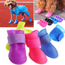 4 x Pet Shoes Dog Protection Waterproof Rain Boots Booties Rubber Candy Colors