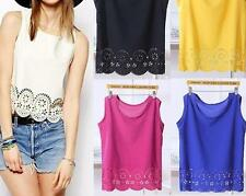 T-Shirt Sleeveless Sexy Chiffon Top Blouse V-Neck Vest Loose Casual Women Lace