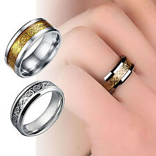 Unisex Dragon Titanium Steel Party Band Ring Valentine's Gift Jewelry Agile