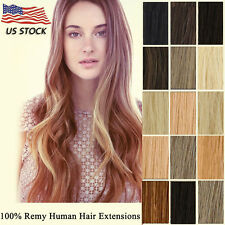 100% Full Head Clip In Remy Human Hair Extensions 16-22inch Straight Hair Weft