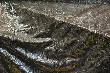 Silver Sequin Paisley Fabric Net Mesh Shiny Sparkly Fancy Dress Dance Material