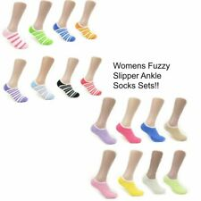 Women's Colorful Striped Solid Soft Casual Fuzzy Ankle Slipper Socks With Grip