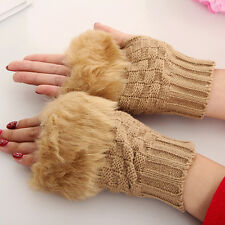 New Cute Women Warm Knitted Fingerless Winter Gloves Unisex Soft Warm Mittens