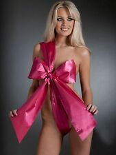 NEW LADIES ANN SUMMERS UNWRAP ME PINK BODY DRESS UP SEXY SATIN TIE WRAP ONE SIZE