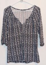 """NWT! Tart for Stitch Fix """"Cliff Sketched Print Henley Knit Top"""" Navy & White"""