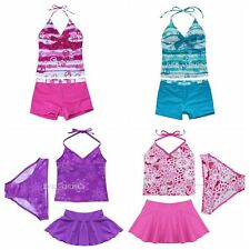 Summer Girls Kids Halter Tankini Set Swimwear Bathers Swimmers Beach Swimsuit