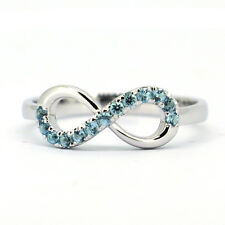 Solid 925 Sterling Silver&Natural Aquamarine Infinity Ring