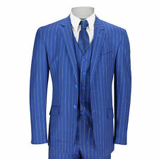 New Mens 3 Piece Suit White Pinstripe on Royal Blue Tailored Fit Vintage Suit