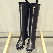 New Womens Round Toe Genuine Leather Knee High Boots Shoes Military Riding Boots