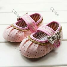 Infant Shoes Baby Girls Princess Polka Dots Bow Soft Sole Toddler Shoes 0-12M