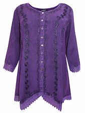 Womens plus size 18 to 24 top purple romantic embroidered button thr 3/4 sleeve