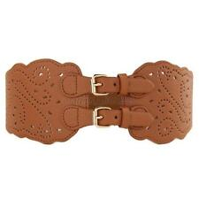 Ladies PU Leather Wide Belt Double Buckle Hollow Waistband For Dress Skirts