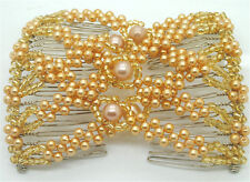 Women's Ez Stretch Beaded Pearls Hair Head Comb Cuff Double Insert Hair Clips