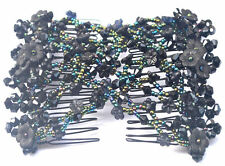 Magic EZ Stretchy Morning Glory Hair Comb Crystal Beaded Double Clips Easy Combs