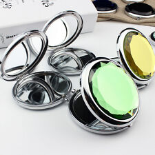 1Pc Mini Stainless Travel Compact Pocket Crystal Folding Makeup Mirror 7cm