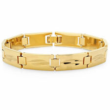 Mens 14k Yellow Gold Plated Diamond Cut Classic Style Bracelet