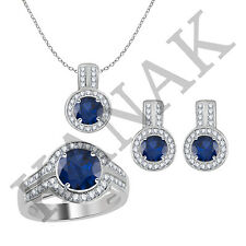 3.10 Ct Blue Sapphire and Natural Diamond Ring, Earrings & Pendant Jewelry Set