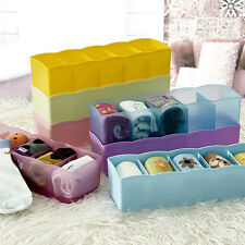 Plastic Organizer Tie Bra Socks Drawer Cosmetic Divider Storage Box Container EP