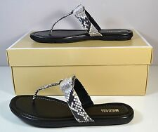 NIB MICHAEL KORS COLLEEN THONG EMBOSSED LEATHER FLIP FLOP SANDALS SHOES SZ 6 7 8