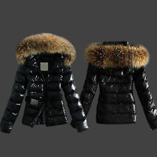Womens Black Faux Fur Leather Biker Quilted Jacket Zip Down Winter Warm Overcoat
