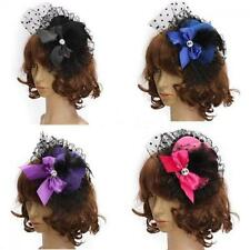 Lady Party Pillbox Bowknot Feather Hair Clip Lace Hat