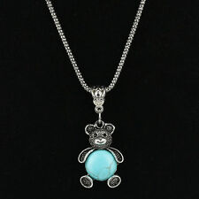 Tibetan Silver Green Turquoise Charm Animal Pendant Necklace Statement Chain