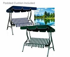 Outdoor Swing Chair 3 Person Padded Cushion Backyard Canopy Roof Steel Porch DLX