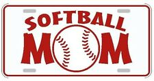 Softball Mom license plate white with red lettering sports tag