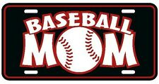 Baseball Mom license plate black with red and white lettering sports tag