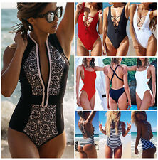 Brazilian Womens Swimwear One Piece Swimsuit Monokini Push Up Bikini Bathing USA